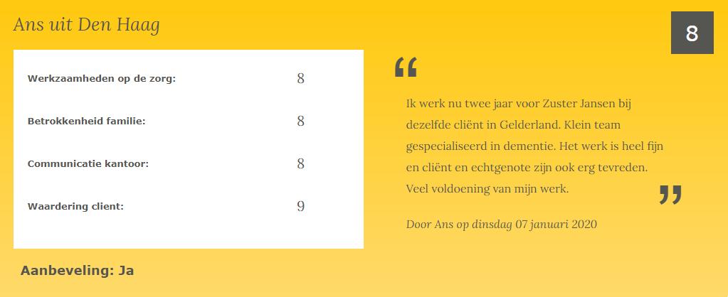 Ans ZZP-er Zuster Jansen
