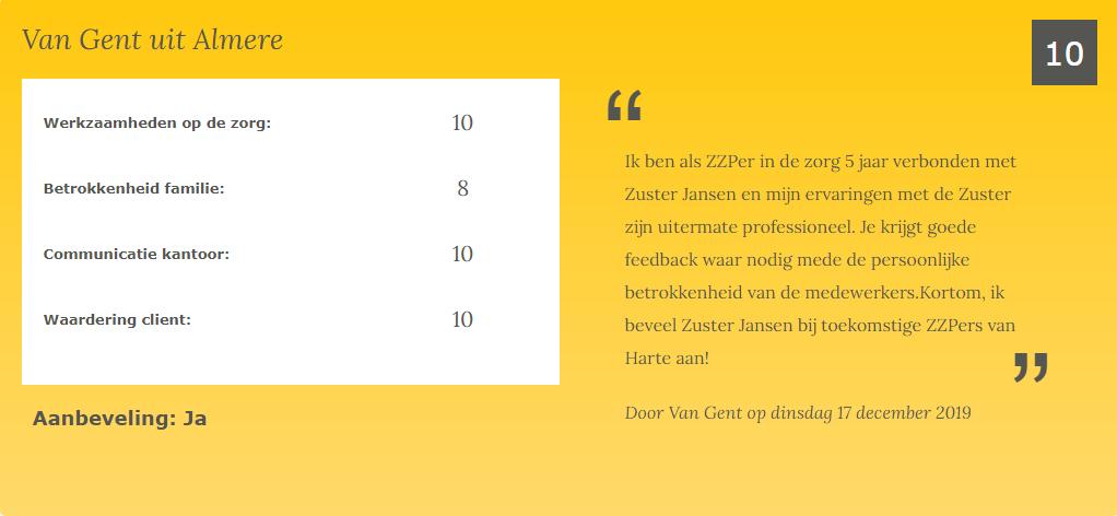 review ZZP-er Zuster Jansen