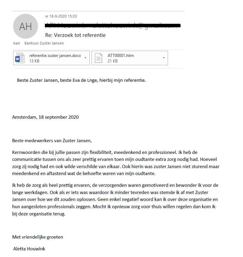 Referentie cliënt Zuster Jansen
